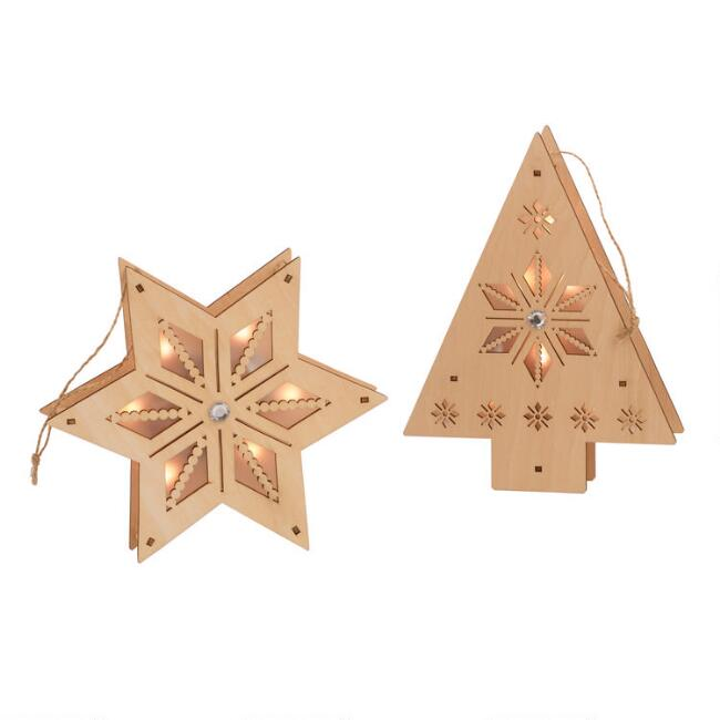 Large Wood Star and Tree LED Light Up Ornaments Set of 2