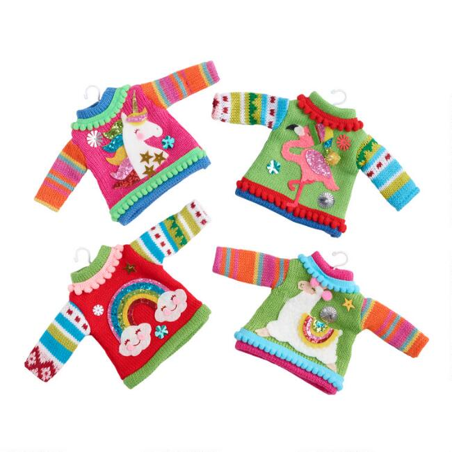 Whimsical Knit Holiday Sweater Ornaments Set of 4
