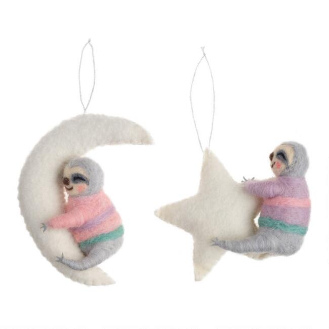Felted Wool Moon and Star Sloth Ornaments Set of 2