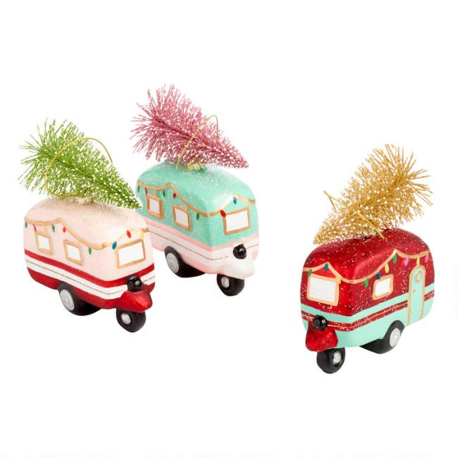 Glass Trailer with Tree Ornaments Set of 3