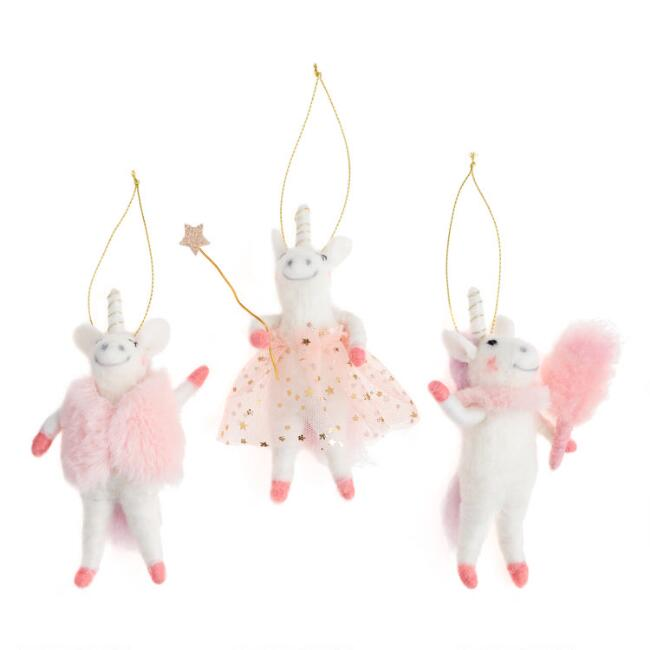 Felted Wool Glam Unicorn Ornaments Set of 3