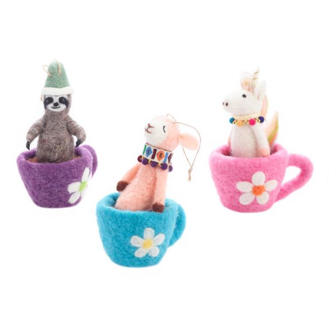 Felted Wool Animal in Cocoa Mug Ornaments Set of 3