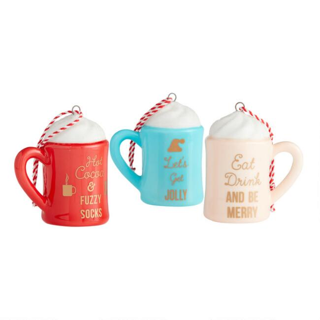 Ceramic Cocoa Mug with Message Ornaments Set of 3