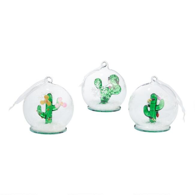 Glass Cloche Cactus Ornaments Set of 3