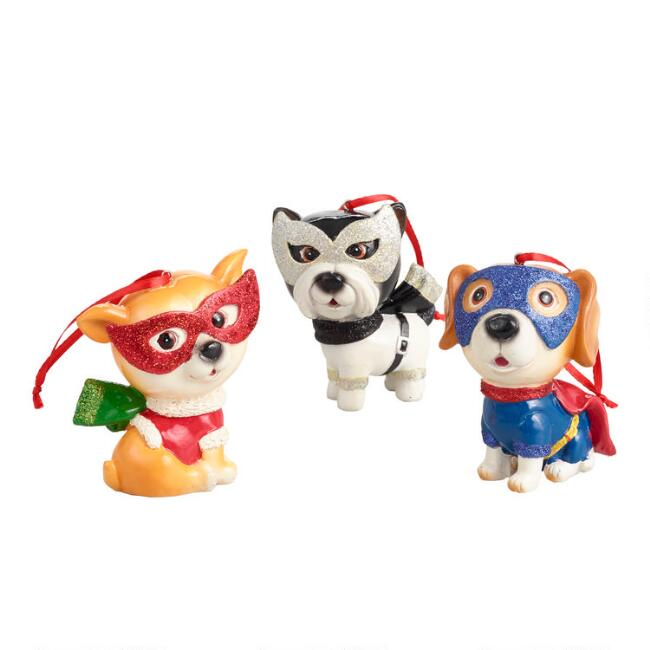Superhero Dog Ornaments Set of 3