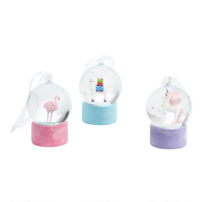 Glass Mini Animal Snow Globe Ornaments Set of 3