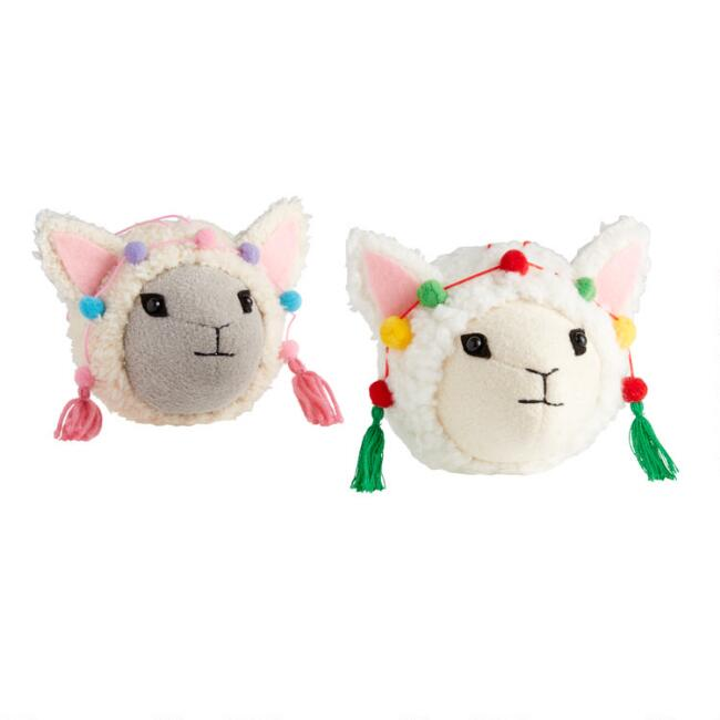 Fabric Llama Head Ornaments Set of 2