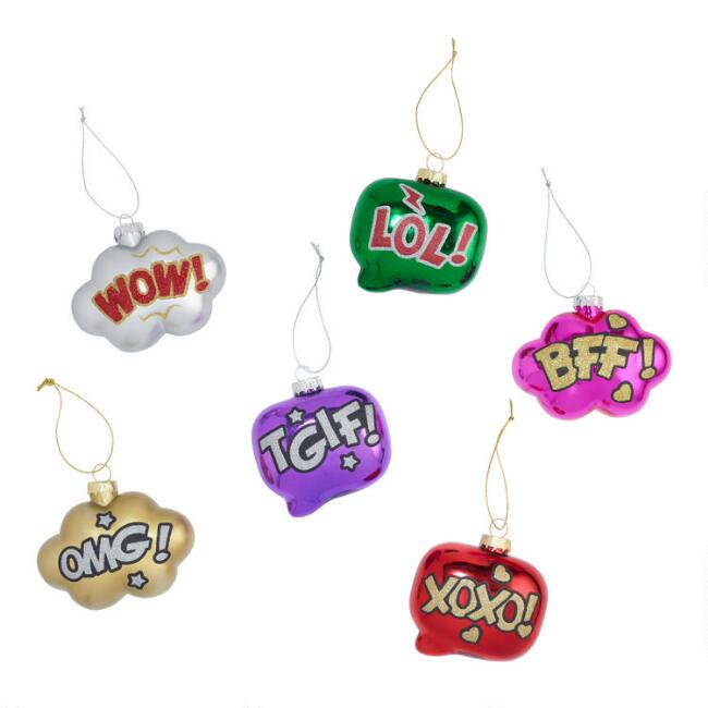 Glass Thought and Speech Bubble Ornaments Set of 6