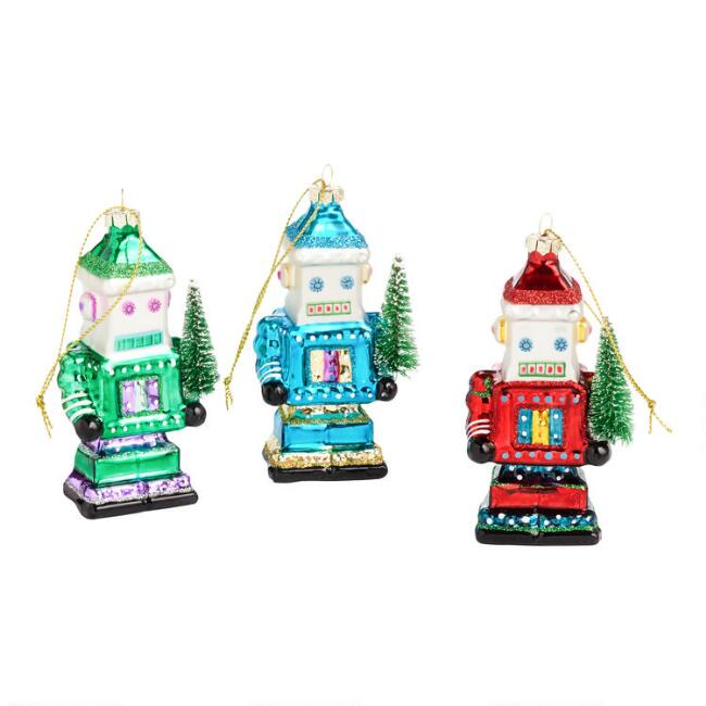 Glass Robot with Tree Ornaments Set of 3