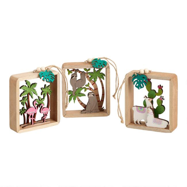 Glittered Wood Animal Scene Ornaments Set of 3