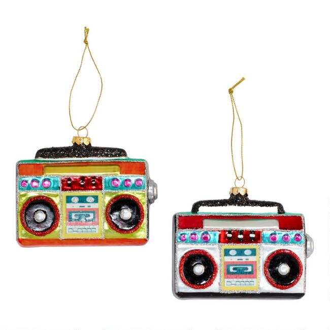 Glass Boombox Ornaments Set of 2