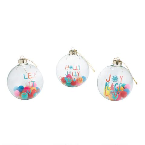 Clear Christmas Ornaments.Clear Glass Ball Ornaments With Pom Poms Set Of 3