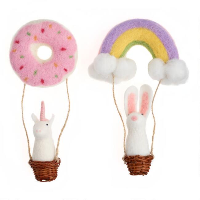 Felted Wool Animal in Balloon Ornaments Set of 2