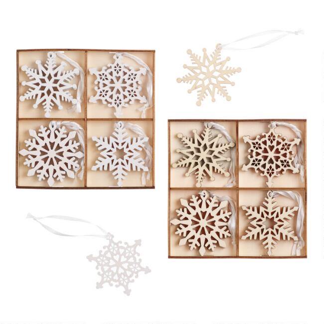 12 Pack Wooden Snowflake Boxed Ornaments Set Of 2