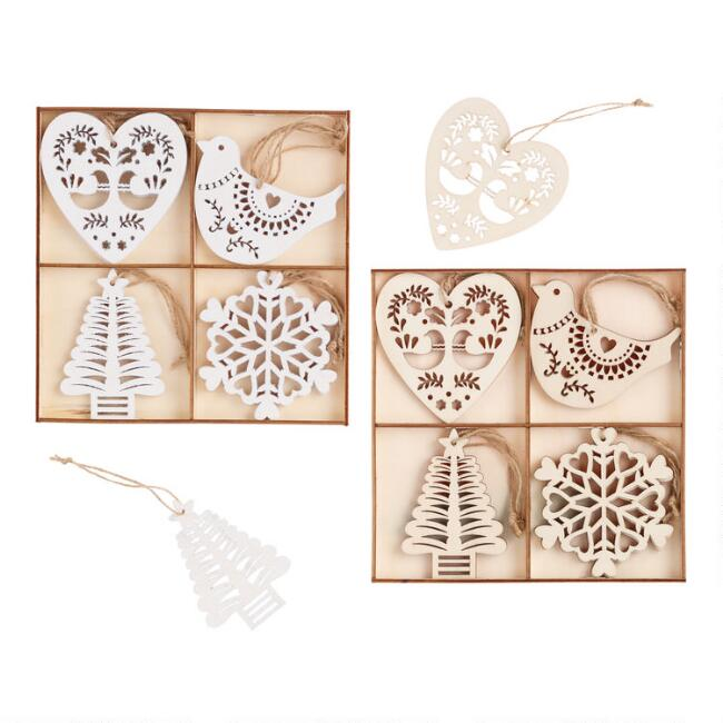 12 Pack Wooden Nordic Boxed Ornaments Set Of 2