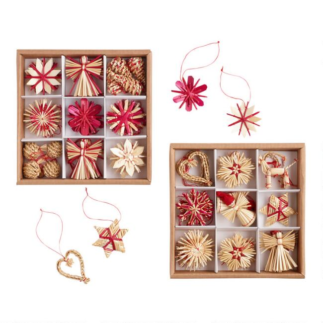 36 Pack Natural Straw Boxed Ornaments Set Of 2