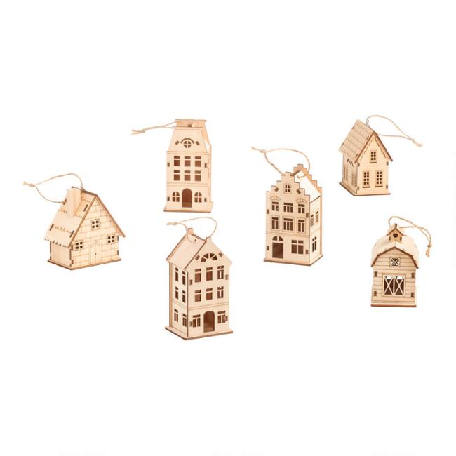 3 Pack Wooden House Boxed Ornaments Set Of 2
