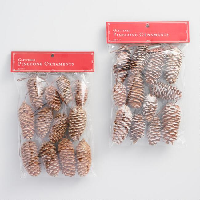 12 Pack Glittered Pinecone Ornaments Set Of 2