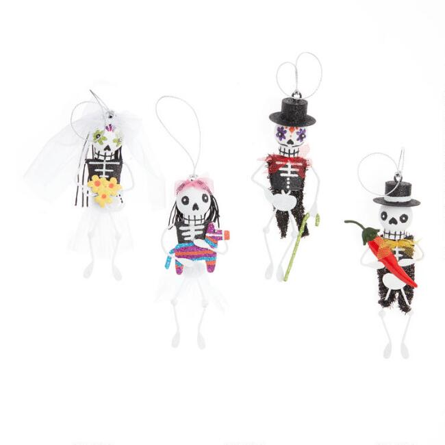 Metal Day of the Dead Skeleton Ornaments Set of 4