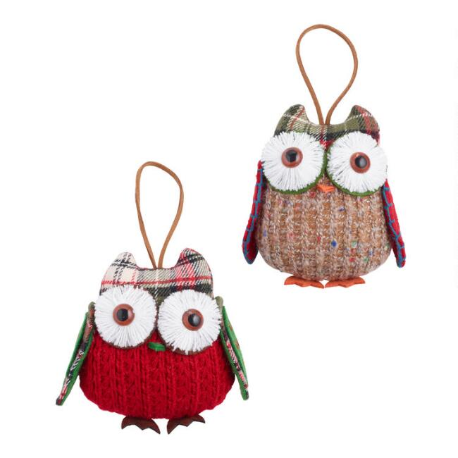 Knit and Plaid Fabric Owl Ornaments Set of 2
