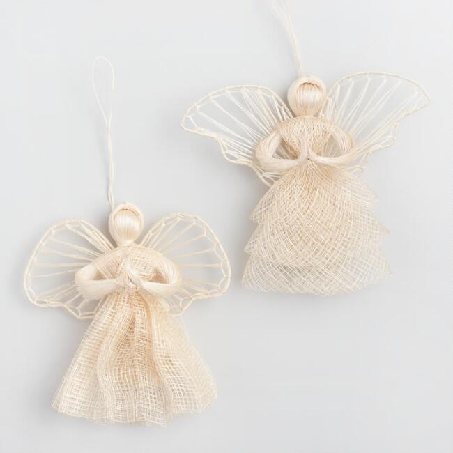 Natural Fiber Nordic Angel Ornaments Set of 2