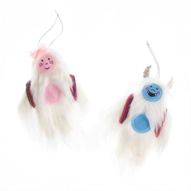 Faux Fur Yeti with Baby Ornaments Set of 2