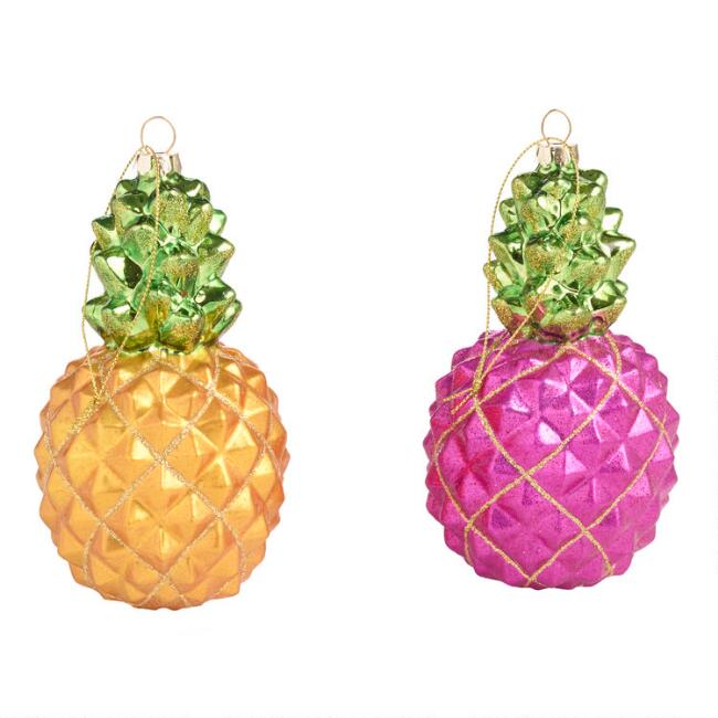 Glass Pineapple Ornaments Set of 2