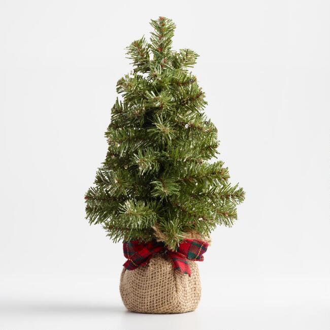 Glittered Faux Tree with Burlap Base