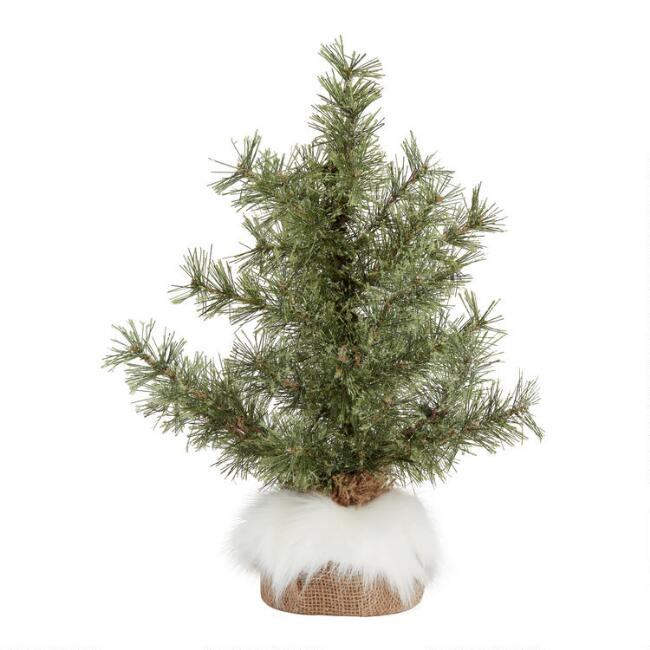 Glittered Faux Tree With Fur and Burlap Base