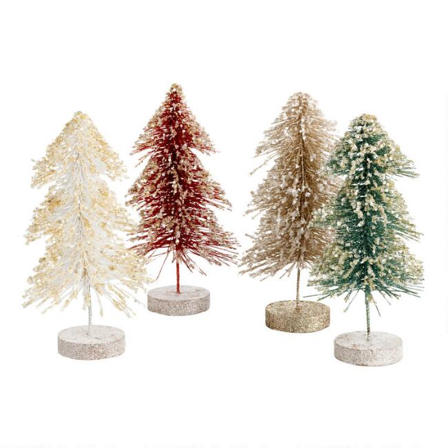 Glitzy Glittered Bottlebrush Trees Set Of 4
