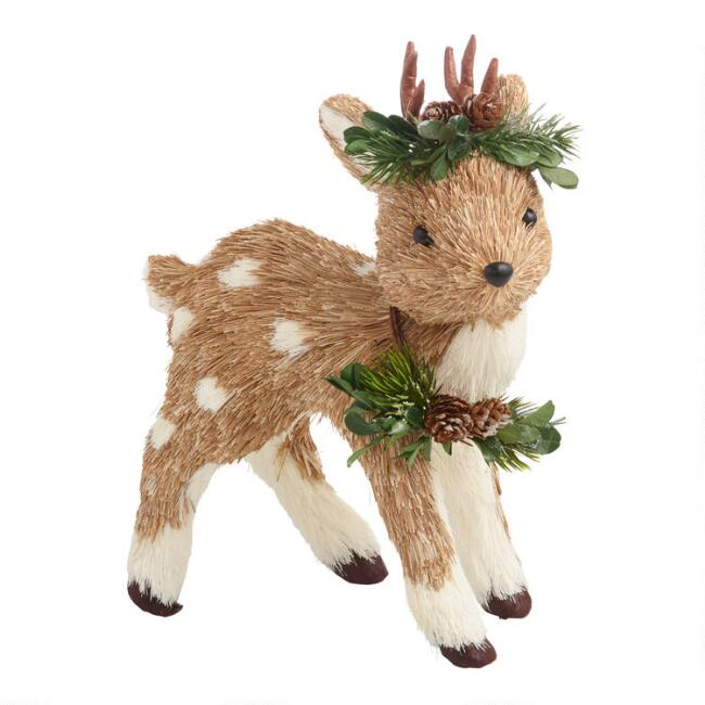 Natural Fiber Deer With Wreath Collar And Crown