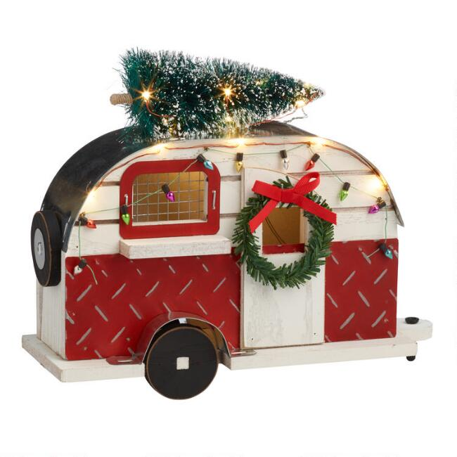 Wood And Metal Trailer LED Light Up Tabletop Decor