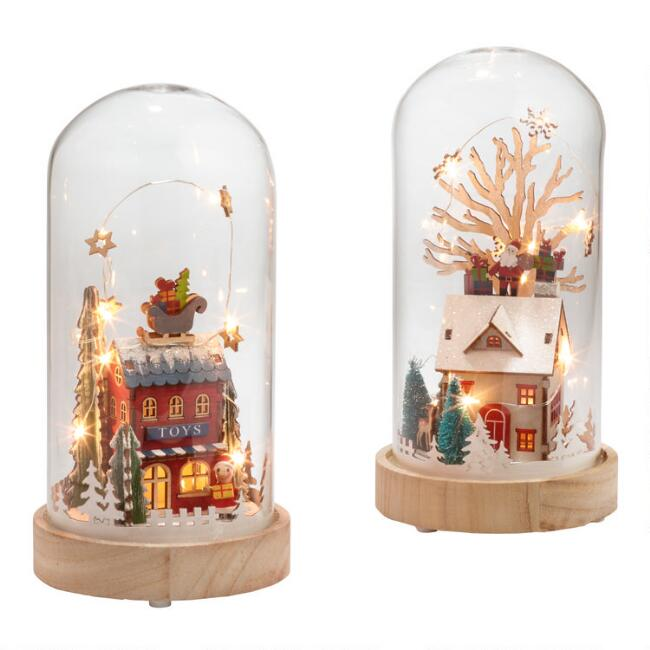 Glass Cloche Winter Scene LED Light Up Decor Set Of 2