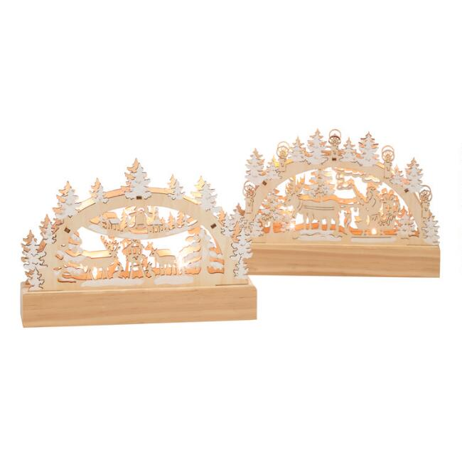 Mini Wood Winterscape LED Light Up Decor Set Of 2