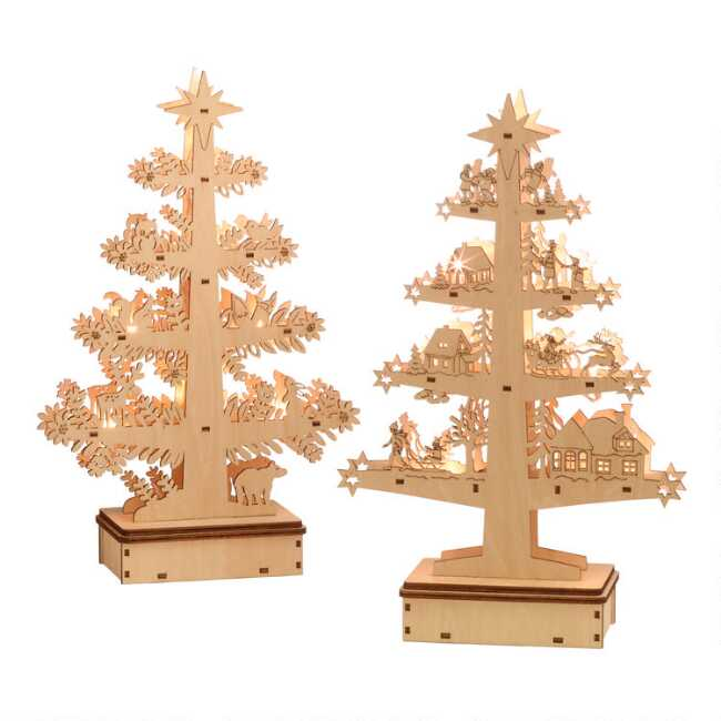 Shaker Woods Christmas In The Woods.Wood Winter Tree Led Light Up Decor Set Of 2