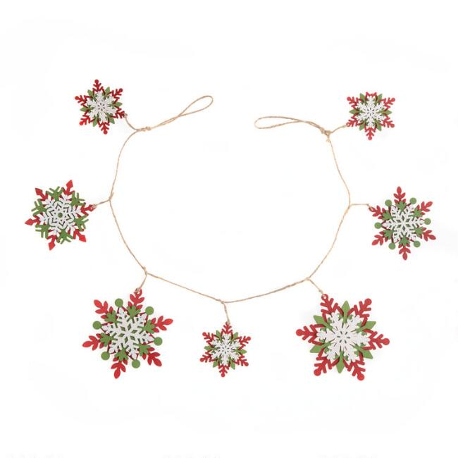 Layered Wood Snowflake Garland