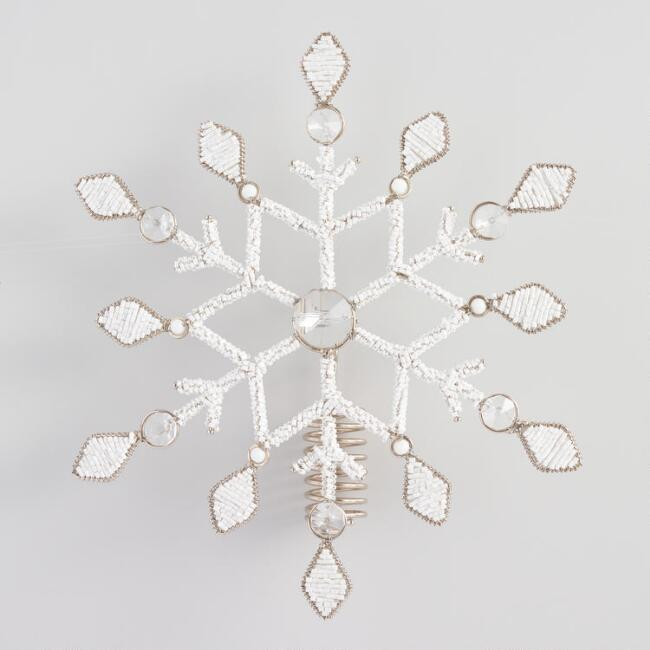 Bead And Gem Metal Snowflake Tree Topper