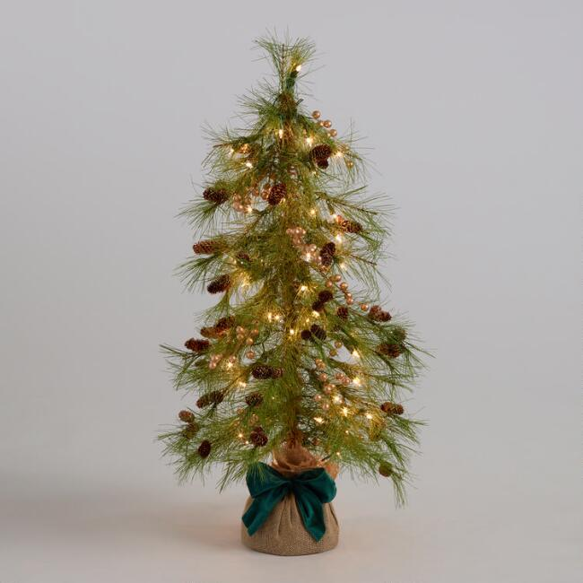 Pre Lit Faux Tree With Gold Berries And Pinecones