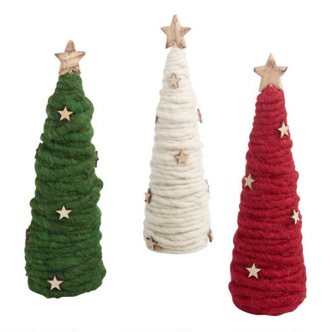 Mid Century Modern Christmas Tree Skirt.Wool And Wood Tree Decor Set Of 3