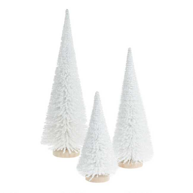 Shaker Woods Christmas In The Woods 2019.Icy White Faux Bottlebrush Tree Tabletop Decor