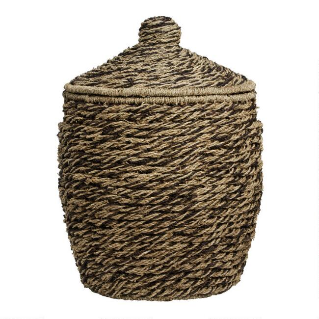 Espresso and Natural Seagrass Maya Jar Basket with Lid