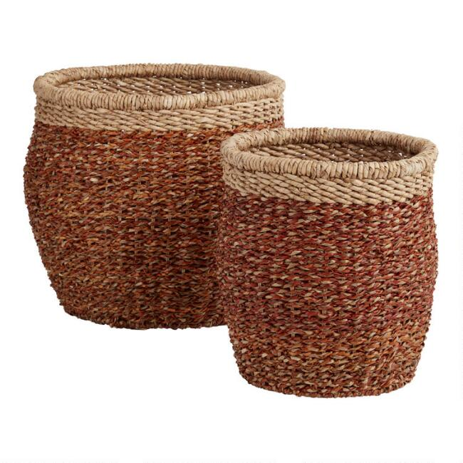 Rust Orange Seagrass Eden Basket