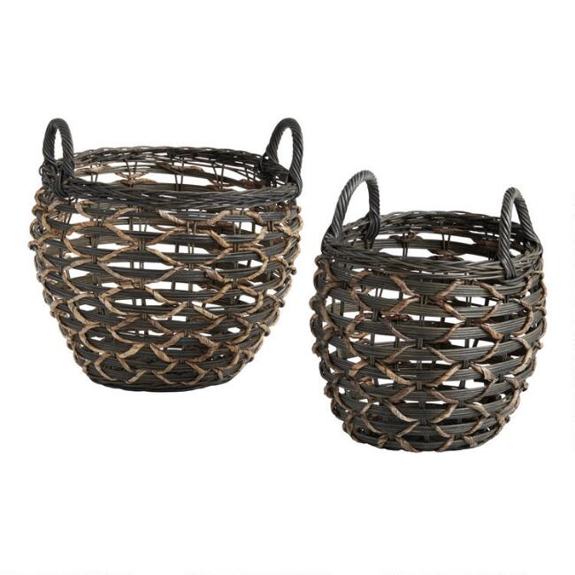 Dark Espresso and Natural Rattan Natalie Tote Basket