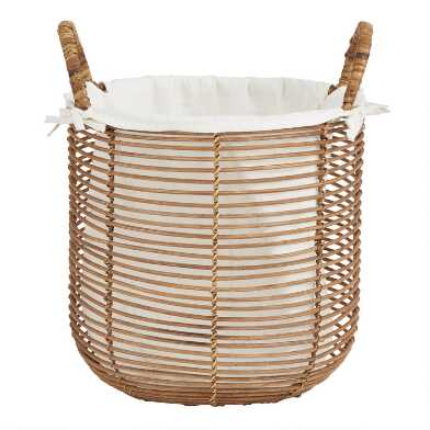 Natural Rattan Hayley Tote Basket With Liner