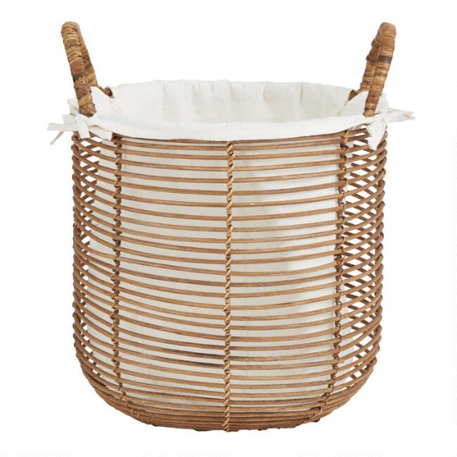 Natural Rattan Hayley Tote Basket with Lining
