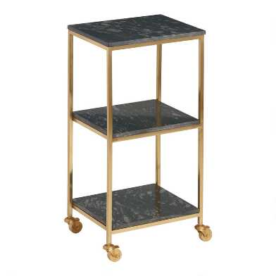 Black Marble and Antique Gold Taylor Rolling Cart