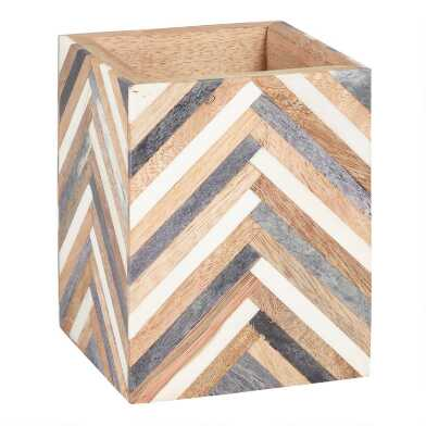 Bone and Wood Chevron Sydney Pencil Cup