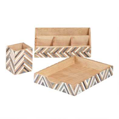 Bone and Wood Chevron Sydney Desk Accessories Collection