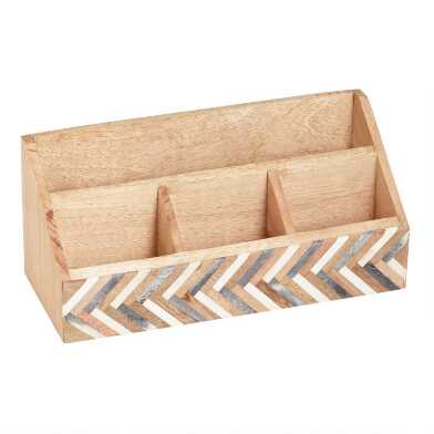 Bone and Wood Chevron Sydney Desk Organizer