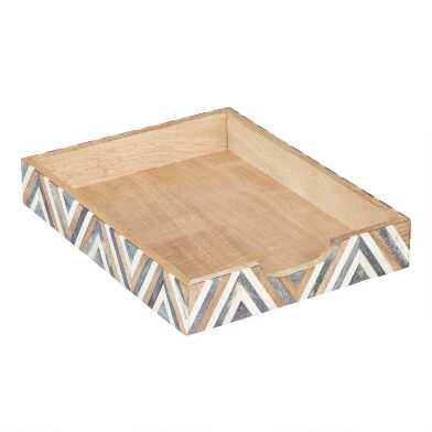 Bone and Wood Chevron Sydney Paper Tray